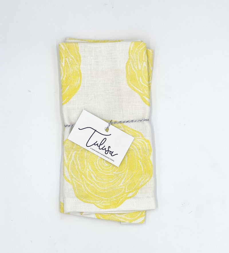 Linen Napkins in Canary Rose (set of 2)