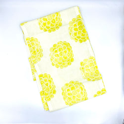 Linen Table Runner in Canary Zinnia