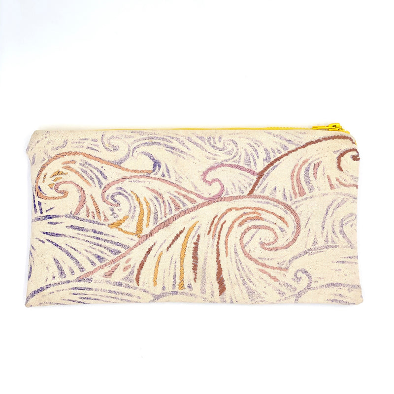 Block-Print Wave Canvas Clutch with Embroidery