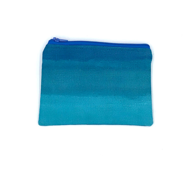 Linen Coin Purse in Blue Ombre