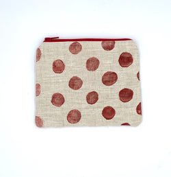 Linen Coin Purse in Brick Block-Print Dots