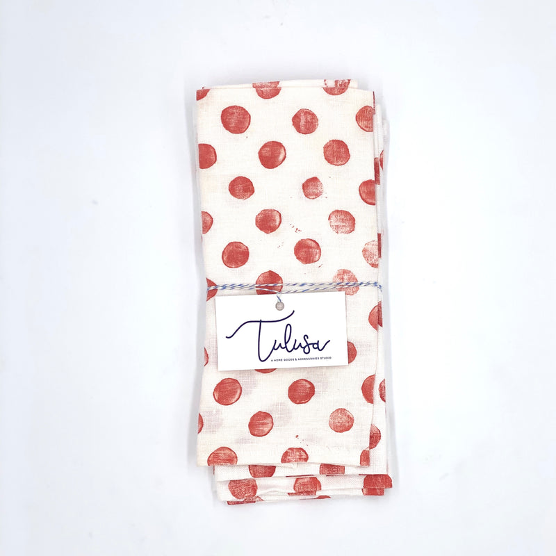 Linen Napkins in Coral Dots (set of 4)