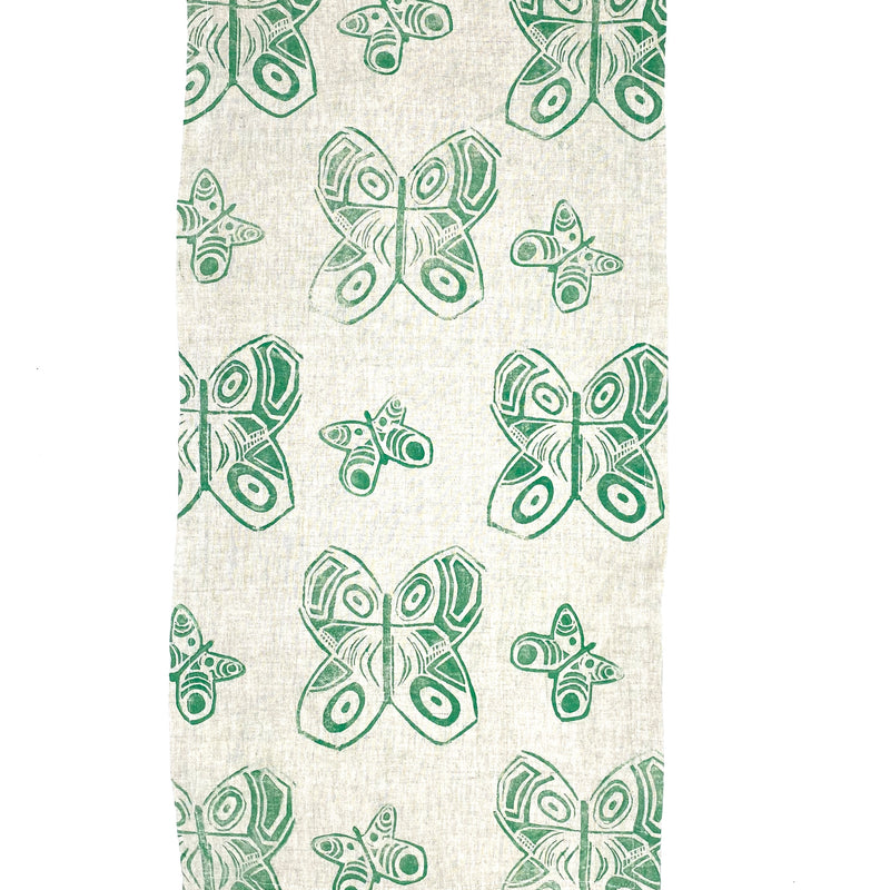 Linen Table Runner in Evergreen Butterfly