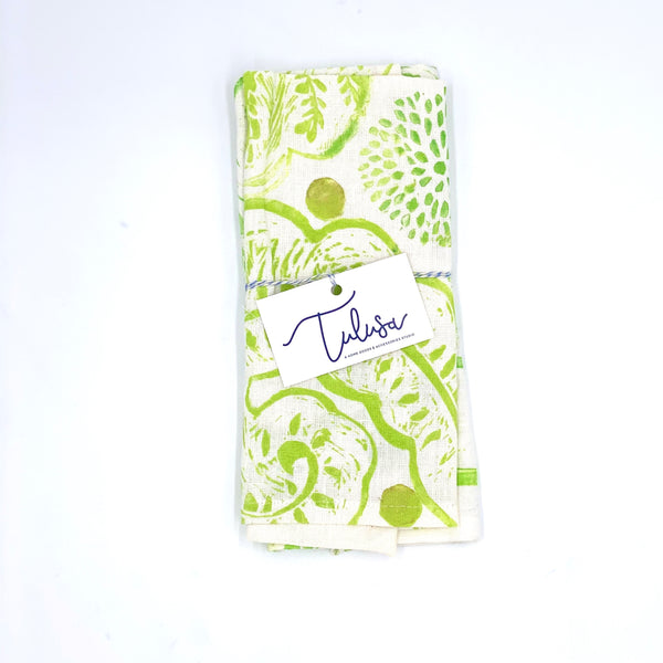 Linen Napkins in Lime Mehndi (set of 2)