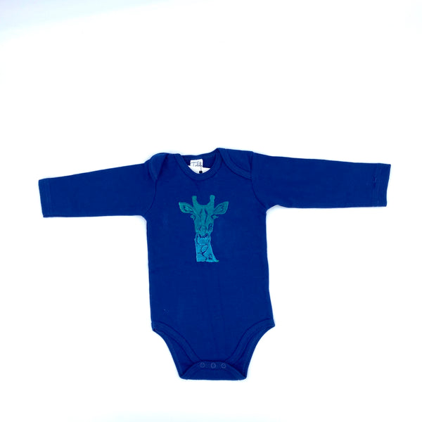 Long-Sleeve Giraffe Onesie in Blue (3-6 mo.)