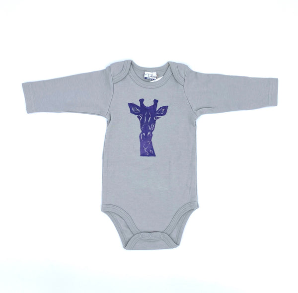 Long-Sleeve Giraffe Onesie in Gray (3-6 mo.)