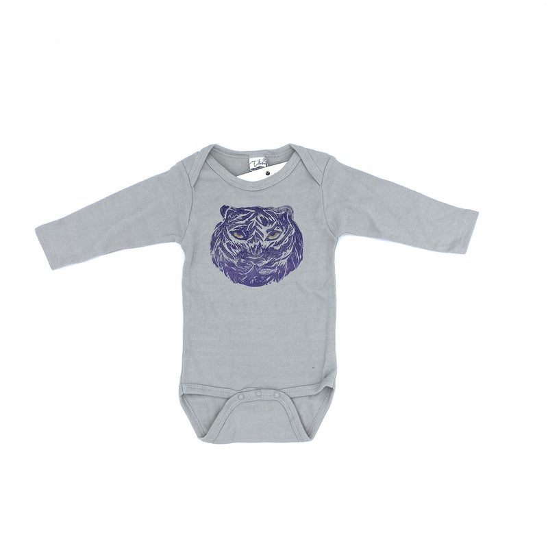 Long-Sleeve Henry the Tiger Onesie in Gray (12-18 mo.)