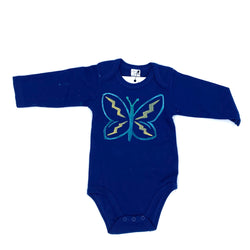 Long-Sleeve Butterfly Onesie in Blue (6-12 mo.)