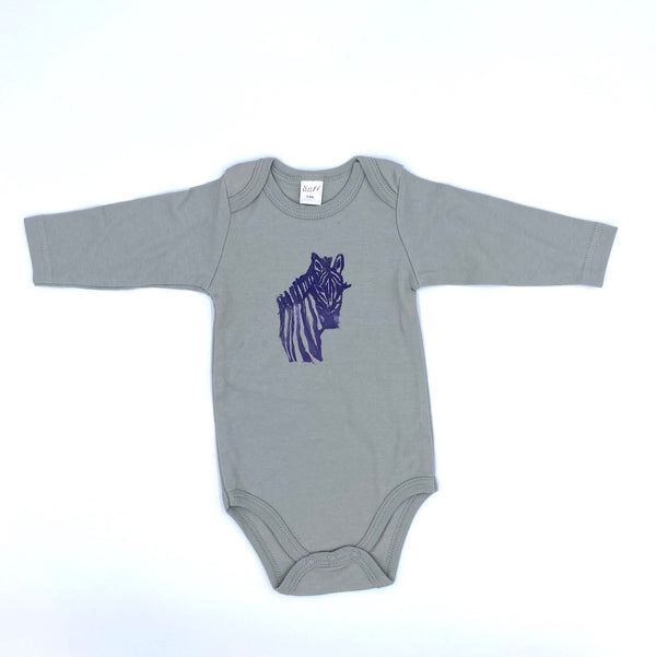 Long-Sleeve Zebra Onesie in Gray (3-6 mo.)