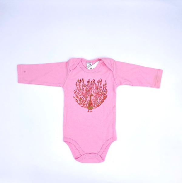 Long-Sleeve Peacock Onesie in Pink (6-12 mo.)