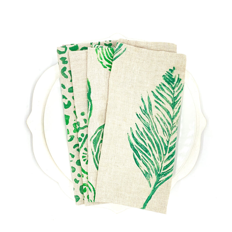 *Mix & Match Napkins in Cool Moss on Oatmeal Linen (Set of 4)