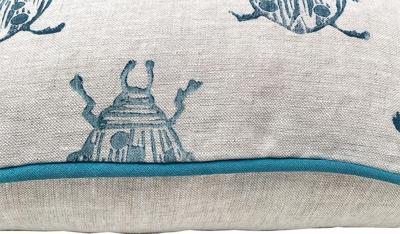 beetle pillow in navy detail Tulusa