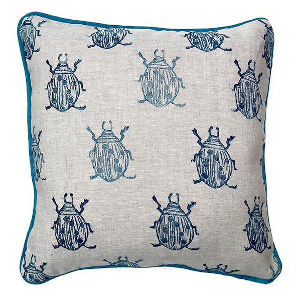 beetle pillow in navy on linen Tulusa