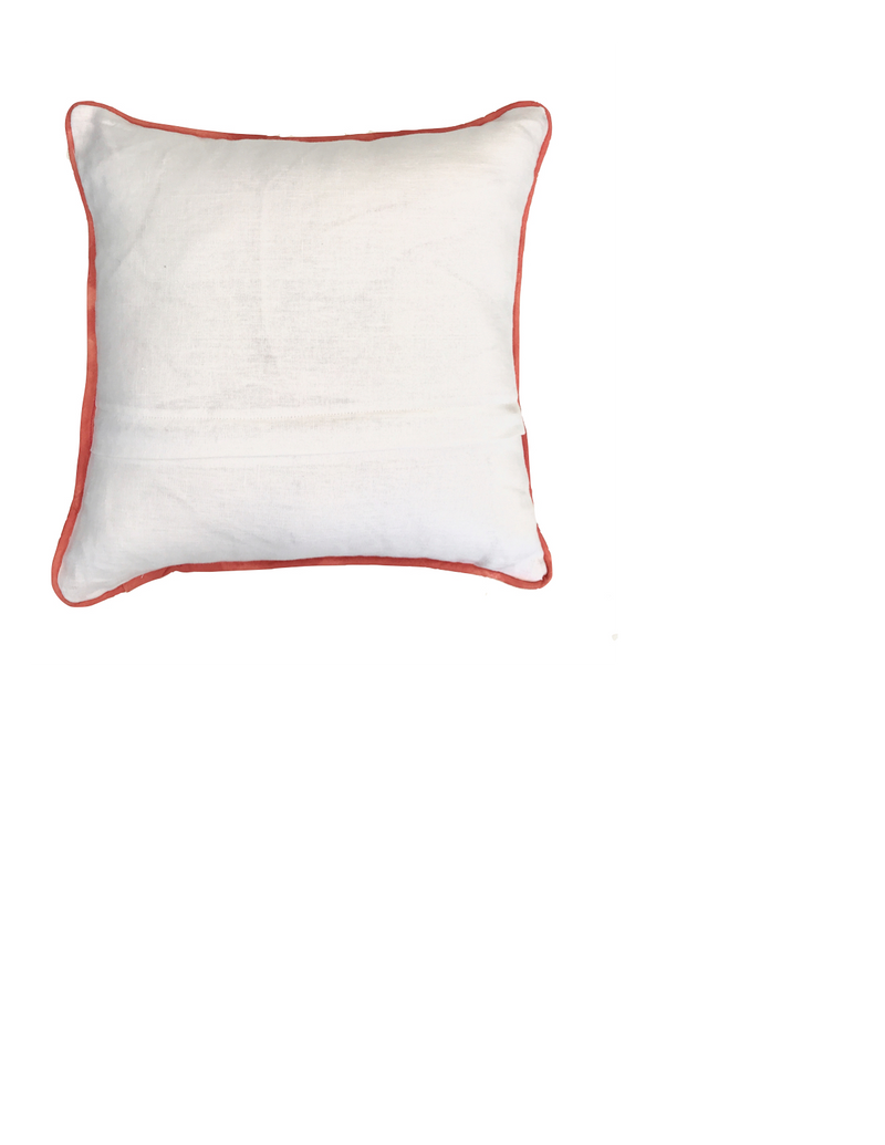 Tiger and Feather Pillow in Coral by Tulusa
