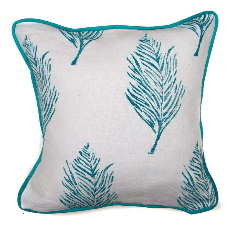 Feather Print Pillow in Peacock Blue on white linen|Tulusa