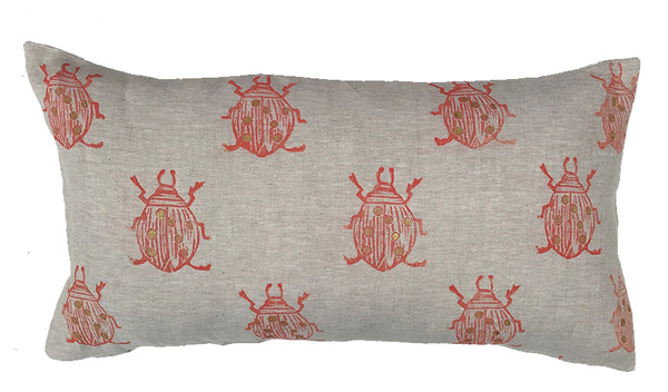 Beetle Bolster Pillow in Coral|Oat