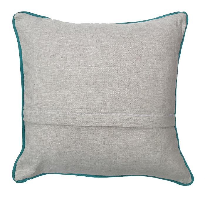 back of linen pillow with blue lining