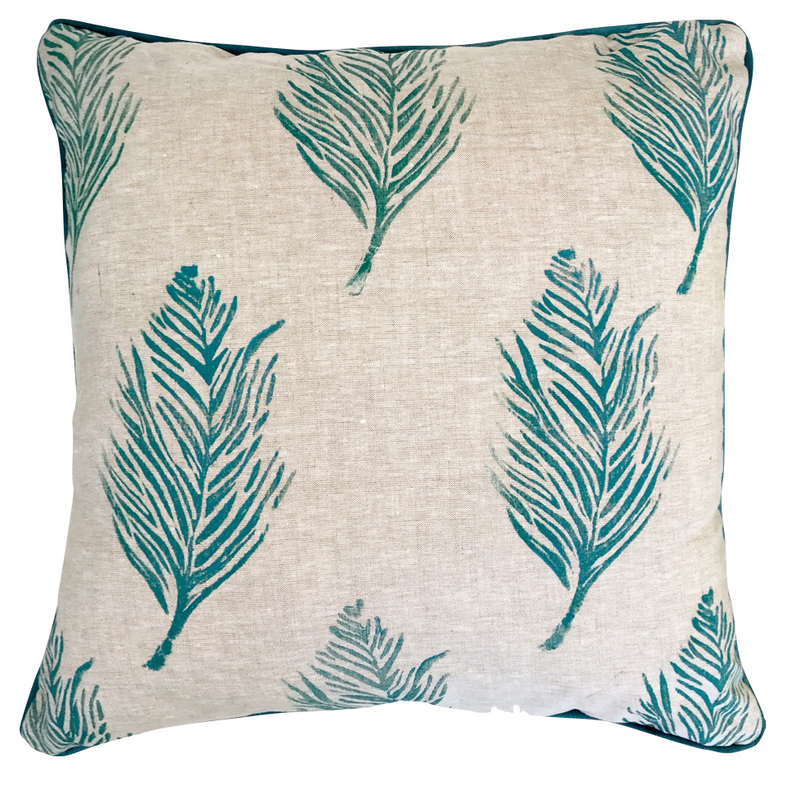 Feather print pillow in peacock blue|Tulusa
