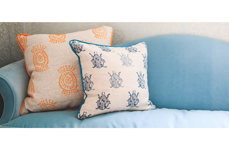 Pineapple Flower Pillow in Mango Beetle Pillow in Navy|Tulusa
