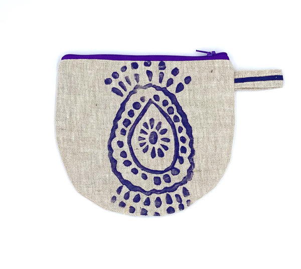 Half-Moon Makeup Bag in Purple Pineapple Flower