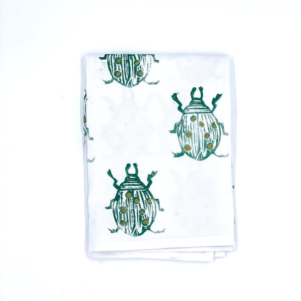 Cotton Tea Towel in Evergreen Beetle