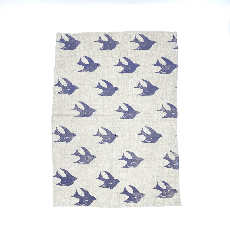 Linen Tea Towel in Purple Soaring Bird