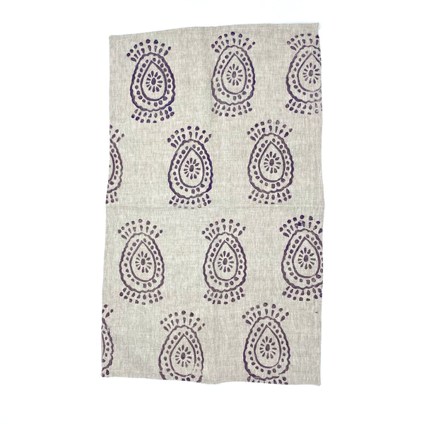 Linen Tea Towel in Purple Haze Pineapple Flower