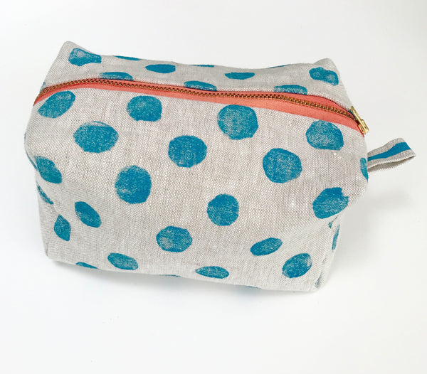 dopp kit peacock blue polka dots tulusa