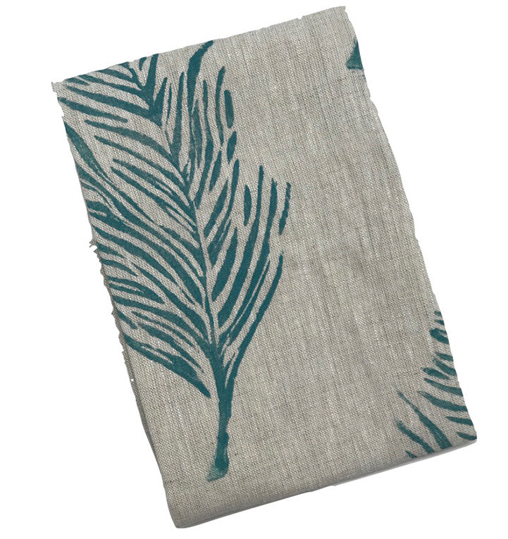 Feather Print Linen Tea Towel Peacock Blue|Oat