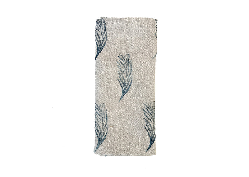 petite feather linen napkin in navy by tulusa