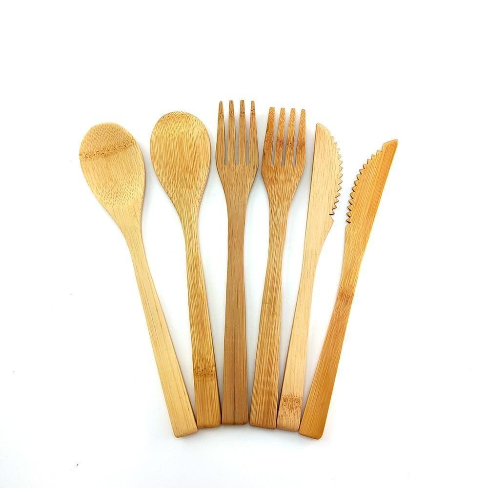 Ethically Sourced Vegan Friendly Biodegradable Bamboo Cutlery Sets - The Vegan Gift Shop