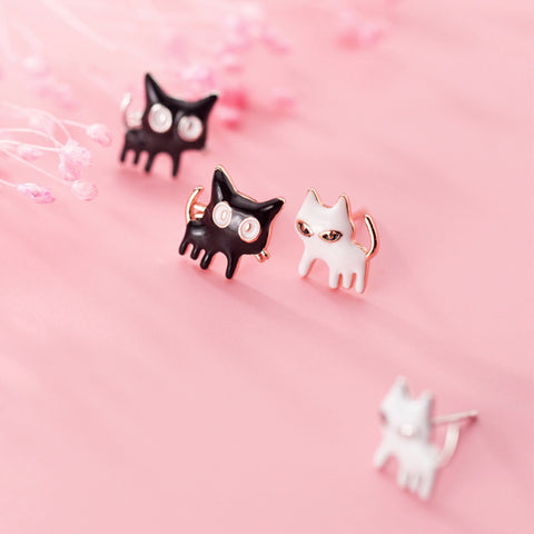 Sterling Silver Earrings - B/W Cats