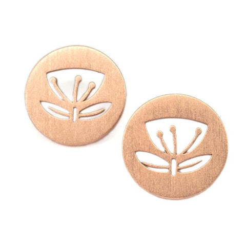 Rose Gold Pohutukawa Earrings