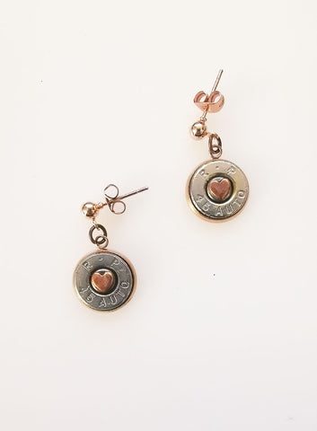 BU Slice Earrings with Tiny Symbols - Rose gold Heart