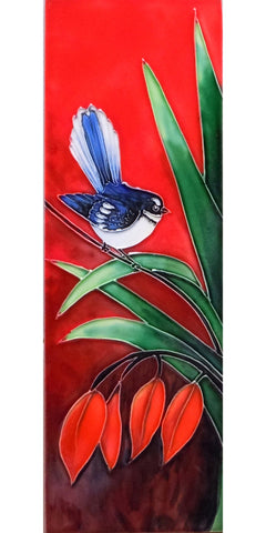 Orange Fantail Long Ceramic Tile Wall Art 10x30cm