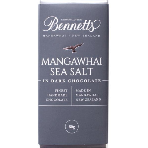 Mangawhai Sea Salt & Dark Chocolate Bar Bennetts Chocolate