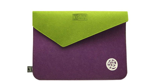 Ponga Purple & Green Ecofelt Laptop Bag