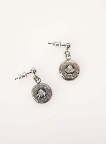 BU Slice Earrings with Tiny Symbols - silver bee