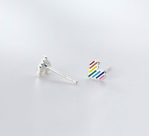 Sterling Silver Colourful Heart Studs