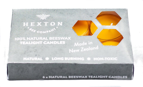 100% Beeswax Tealight Candle Set of 6