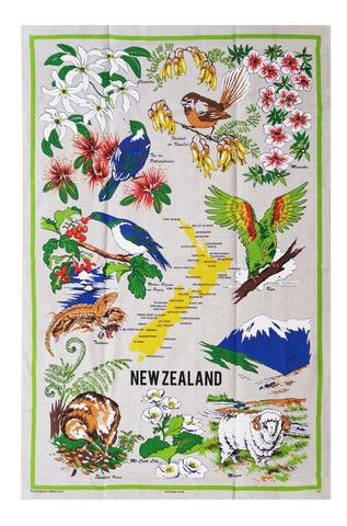 Tea Towel - Natural Flax Birds