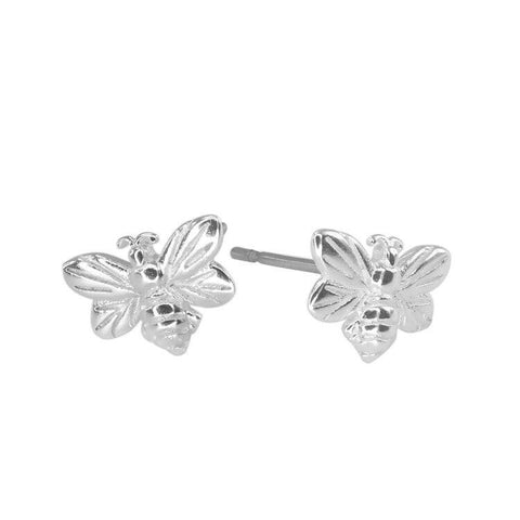 Silver Honey Bee Studs