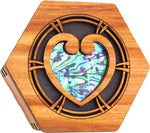 Rimu Hexagonal Box - Paua Heart