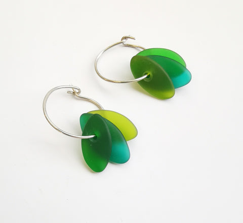 Glass Earrings – Drop beads on ring (Green Shades)