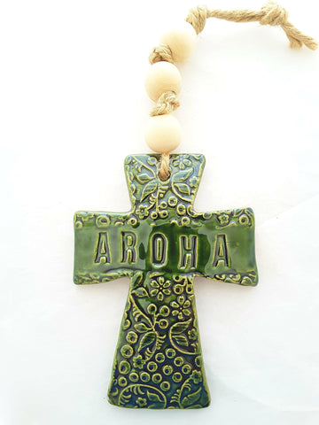 NZ Made Ceramic Aroha Cross