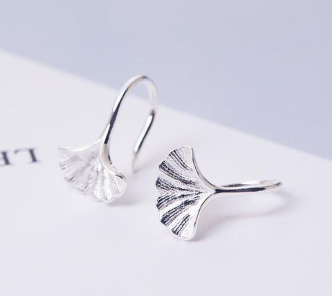 Sterling Silver Earrings - Ginkgo Leaf Hook