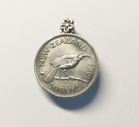 Re-minted Petite Coin Brooch - Sixpence