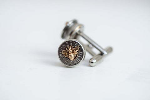 Bullet Head Cufflinks with tiny bees