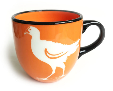 Orange Pukeko Ceramic Mug Painted Pacific Pottery NZ Made