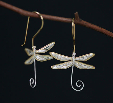 Sterling Silver - Dragonfly Earrings with Hook